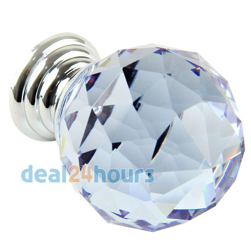 20mm Crystal Glass Handle Knobs Cabinet Cupboard Drawer Door Handles 6